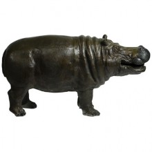Grand hippopotame-fontaine en bronze patiné, France 1950