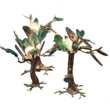 Deux petits arbres-sculptures lumineux en laiton et agates vertes