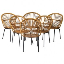 Set of six rattan chairs on black lacquered iron bases. Netherlands 1950 period