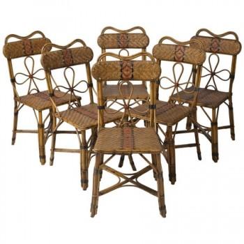 Six chaises en rotin d'époque 1920