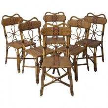 Set of six rattan chairs, France, circa 1920
