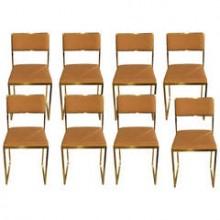 Huit chaises en laiton poli d'époque 1970
