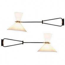 Pair of adjustable and foldable wall lights by Arlus, France, circa 1950