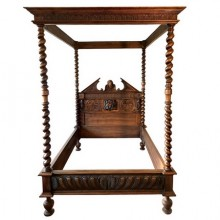 Canopy bed in carved and turned walnut, France end of XIXth century