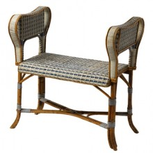 Small double cane rattan bench, France circa 1880