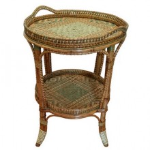 Serving table in woven and lacquered rattan, France circa 1900