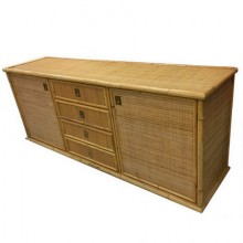 Large sideboard in bamboo and cannage. Italy 1970