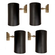 Four 1950s lighting sconces in black lacquered iron.