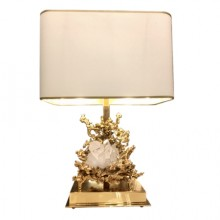 Table lamp in gilded bronze and rock crystal. Claude-Victor Boeltz