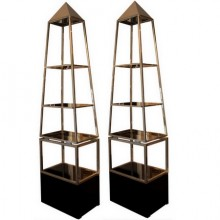 Pair of pyramid shelves, Maison Jansen circa 1970