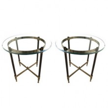 Pair of bronze pedestal tables with glass trays, France 1960