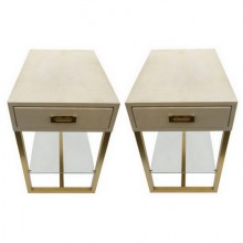 Pair of end tables in parchment and patinated brass, Maison Jansen 1970