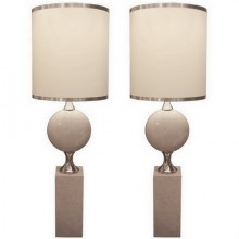 Pair of 1970s sculptural large lamps by Philippe Barbier for Maison Barbier