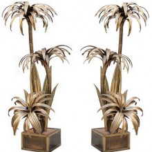 Pair of palm tree floor lamps. Maison Jansen circa 1970