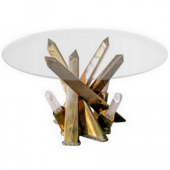 Table-sculpture Cristal de roche, France vers 1980