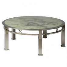 Table basse ronde d'époque 1970 en chrome et verre