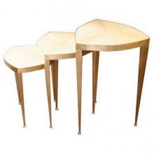 Trifolium, set of three pedestal tables in gold leaf on steel and parchment. Limited edition