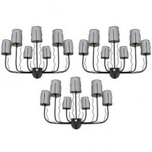 Three large 1950's wall lights by Jacques Adnet, France 1950