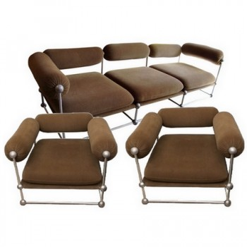 Rare set of one canapé and two armchairs by Verner Panton S 420 serie