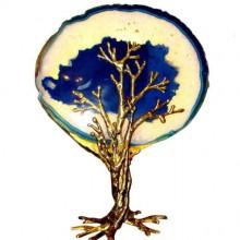 Arbre-sculpture lumineux bleu. Isabelle Masson-Faure. Vers 1980