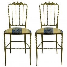 Two 1950 Italian theater chairs in solid brass
