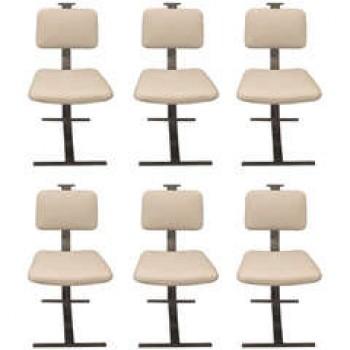 Six chaises italiennes d'époque 1970, cuir et chrome