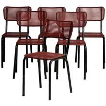 Six chaises en fer et cannage rouge, France 1960