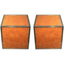 Paire de cubes-bouts de canapé 1970 en loupe d'orme et chrome
