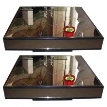 Deux tables basses en miroir fumé et bois laqué noir, France 1980