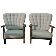 Paire de fauteuils de Guillerme et Chambron époque 1950