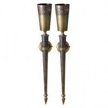 Pair of torches/sconces  in oriental style, circa 1950