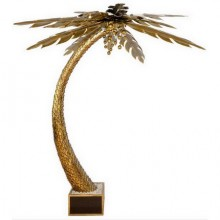 Beautiful 1970s lighting palm tree in gilded metal and polished brass, in a jardiniere in brass. Maison Jansen in Paris