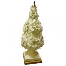 Grand pied de lampe en céramique blanche émaillée à décor de fleurs, époque 1960