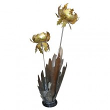 Large 1980s Flowered Plant Lamp