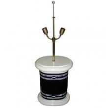 Pied de lampe en bois laqué noir et crème, époque 1970-1980
