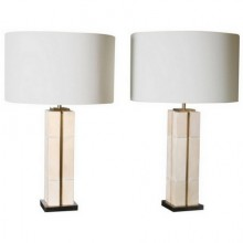 Kubbe, table lamps in patinated brass and parchment. Limited edition
