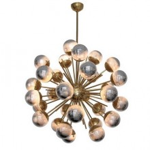Large Sputnik chandelier in brass with glass-mirror globes