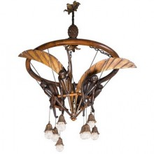 Monkeys chandelier in carved wood, gilt iron and glass beads, Art Deco period