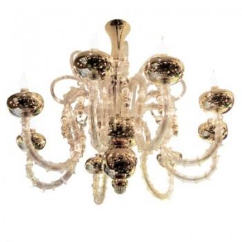 Grand lustre Murano de Venini à Murano en verre soufflé transparent et doré à l'or fin