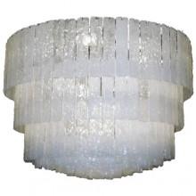 Lustre-plafonnier à plaques de verre opalescent. Murano Italie