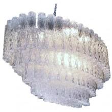 Lustre ovale à tubes de verre cannelés. Venini à Murano Italie