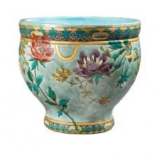 Félix-Optat Milet (1838-1911). Splendide cache-pot à décor floral. Sèvres 1880