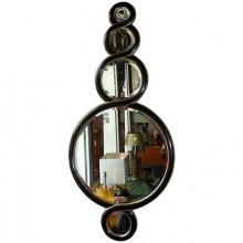 Miroir Torsade en bois laqué noir et doré, vers 1980