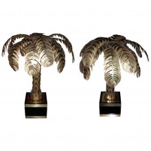 Two 1970s Palm-Tree Lamps by Maison Jansen