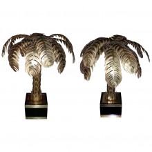 Paire de lampes palmiers de la Maison Jansen, vers 1970