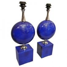 Paire de lampes Barbier laquées bleu et chrome, France 1970