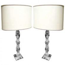Paire de grandes lampes en cristal