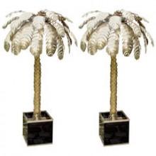 Paire de grands palmiers lumineux. C Techouyeres France 1970