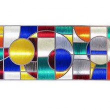 Grand panneau lumineux en résine multicolore et fer laqué , époque 1970