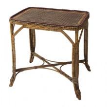 Petite table en rotin tressé d'époque 1900